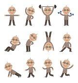 Senior man exercising, health and fitness
