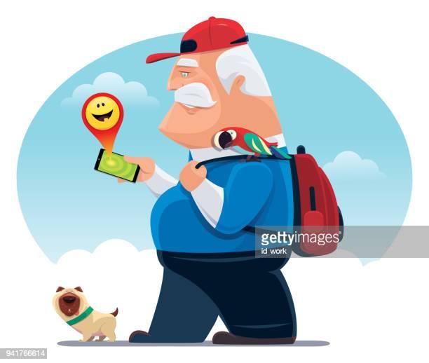 senior man finding happy emoji with smartphone - obesity icon stock illustrations