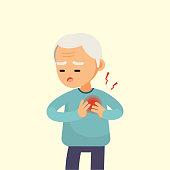 Senior man having a heart attack, elderly with chest pain cartoon, vector illustration.