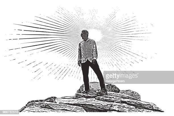 senior man hiking zion national park. angels landing trail summit. - pen and ink stock illustrations