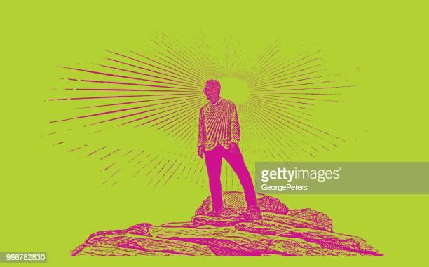 senior man hiking zion national park. angels landing trail summit. - zion national park stock illustrations, clip art, cartoons, & icons