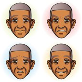 Senior Man in Four Facial Expression (African Ethnicity)