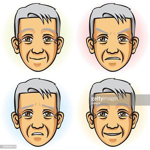 senior man in 4 つの表情(アジア人) - ショートヘア点のイラスト素材/クリップアート素材/マンガ素材/アイコン素材
