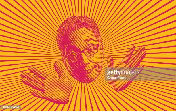 ilustraciones, imágenes clip art, dibujos animados e iconos de stock de senior hombre haciendo una graciosa expresión facial - sol en la cara