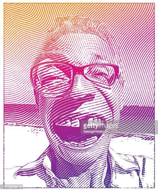 Senior woman fehlenden Zahn mit einem lustigen Gesichtsausdruck