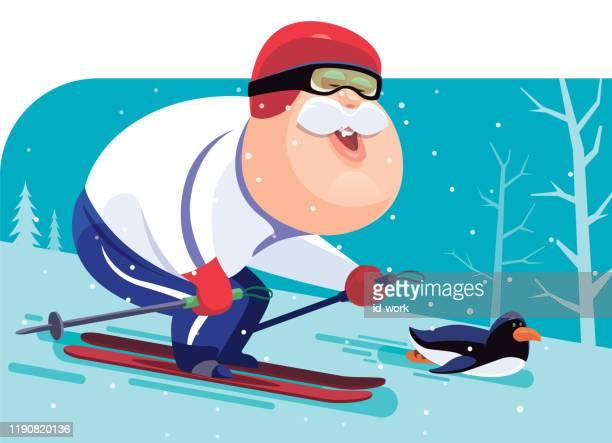 illustrations, cliparts, dessins animés et icônes de ski d'homme aîné avec le pingouin - ski humour