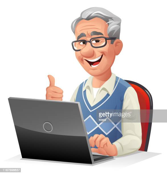 senior man using laptop - the ageing process stock illustrations
