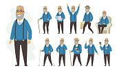 Senior man - vector cartoon people character set