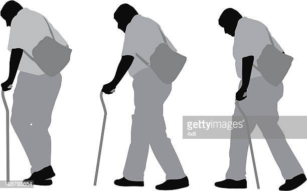 senior man walking with cane - multiple image stock illustrations, clip art, cartoons, & icons