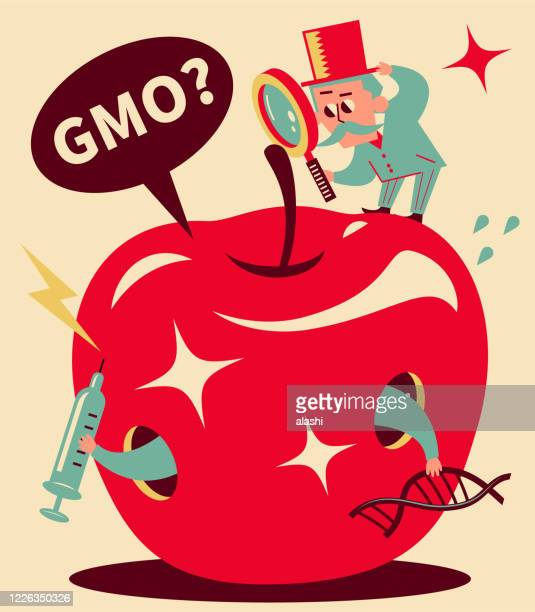 senior man (professor, detective), wearing top hat, standing on top of big apple and holding a magnifying glass, genetic engineering, gmo, genetically modified food and gene manipulation concept - genetic modification stock illustrations