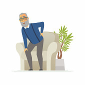 Senior man with a backache - cartoon people characters isolated illustration