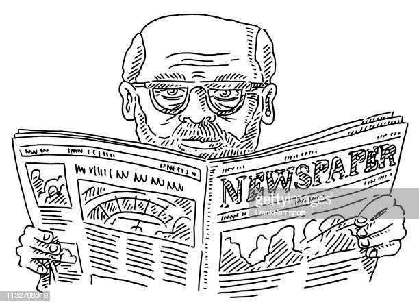 Seniorenmensch mit Brille liest Zeitungsziehen