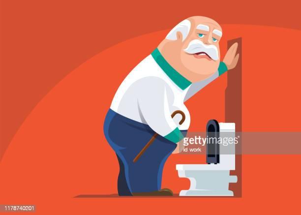 ilustrações de stock, clip art, desenhos animados e ícones de senior man with urinary problem - desconfortável