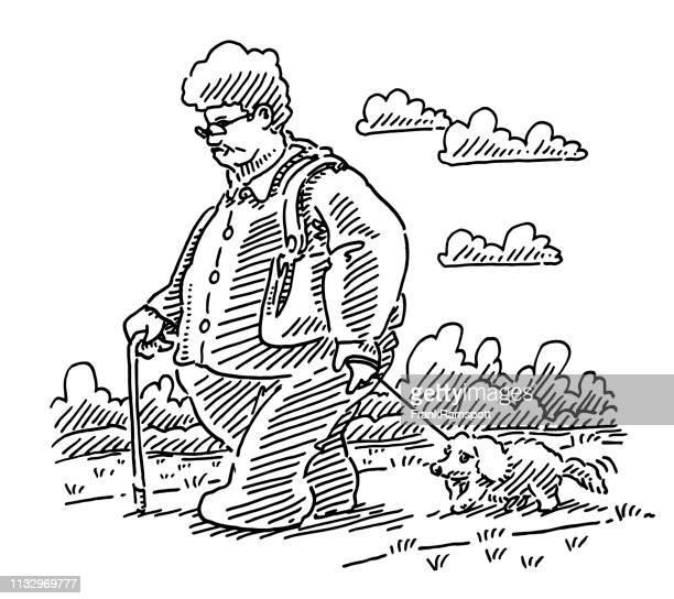 Senior Obese Frau zu Fuß mit dem Hund Zeichnung