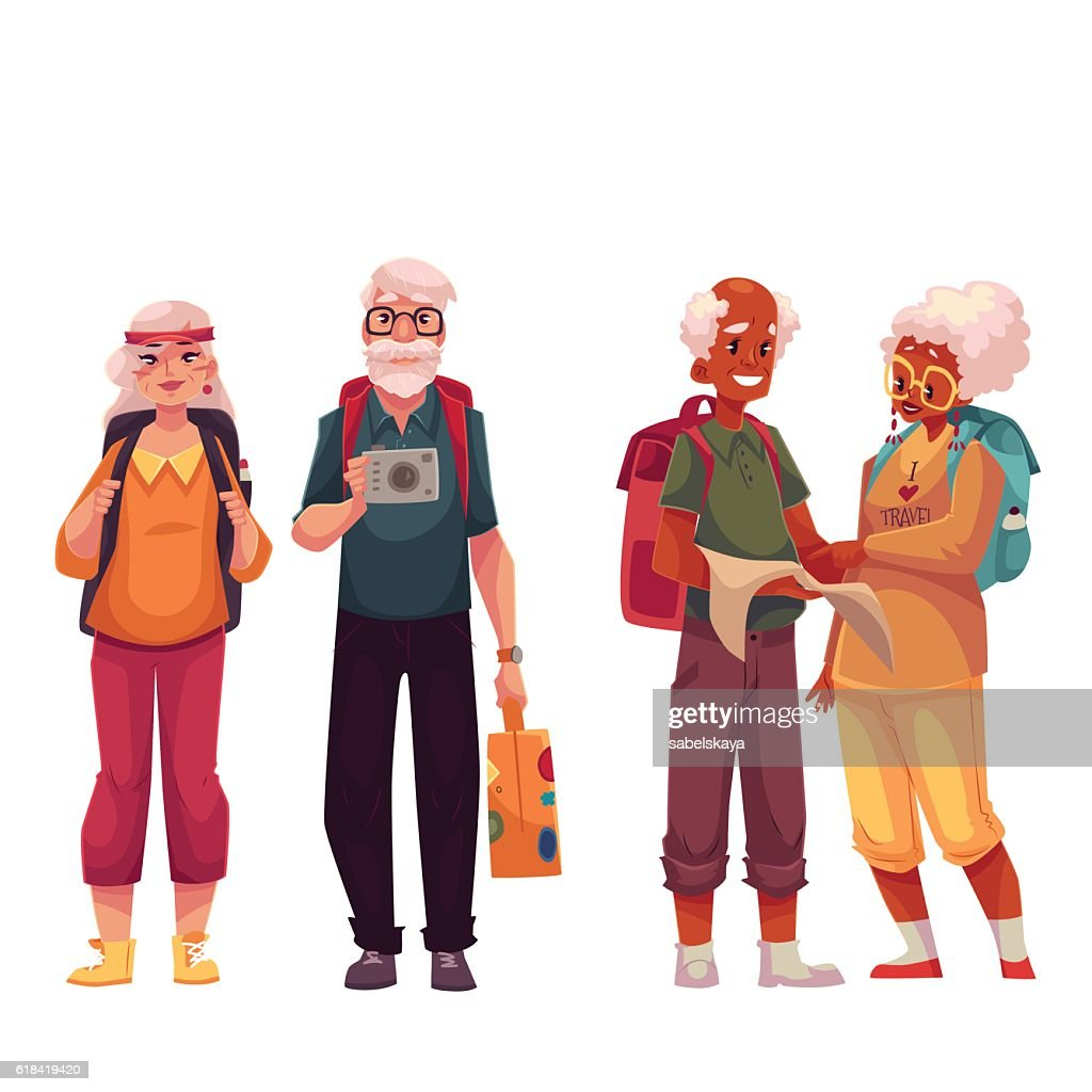 Senior, old couple travelling with backpacks
