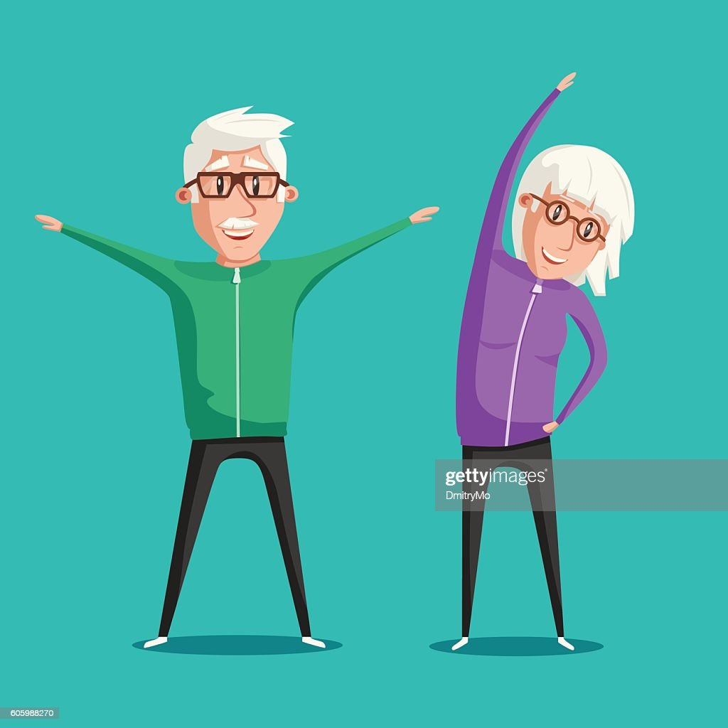 Senior people and gymnastics. Cartoon vector illustration