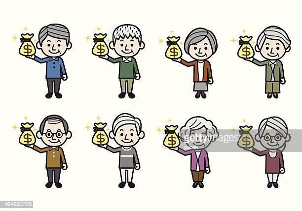 ilustraciones, imágenes clip art, dibujos animados e iconos de stock de senior personas con bolsa de dinero - fajo de billetes