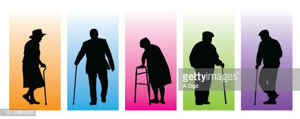senior personality character - mature adult stock illustrations