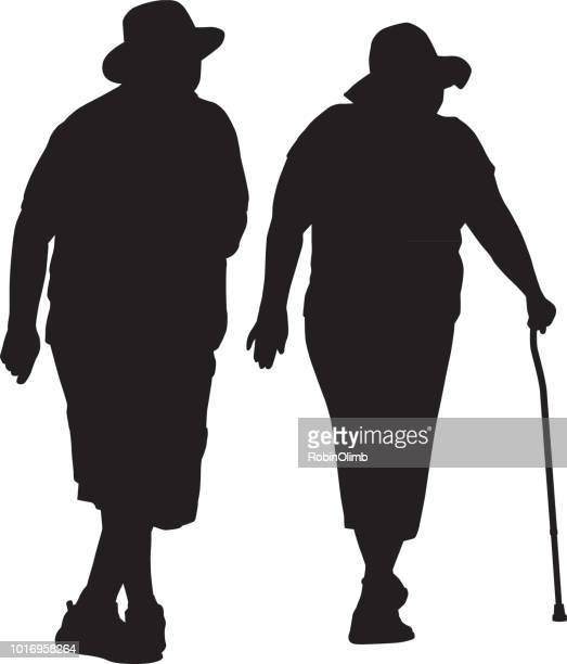 senior retired couple walking together - walking cane stock illustrations