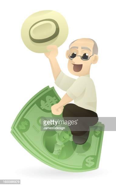 senior riding investments - cash flow stock illustrations, clip art, cartoons, & icons