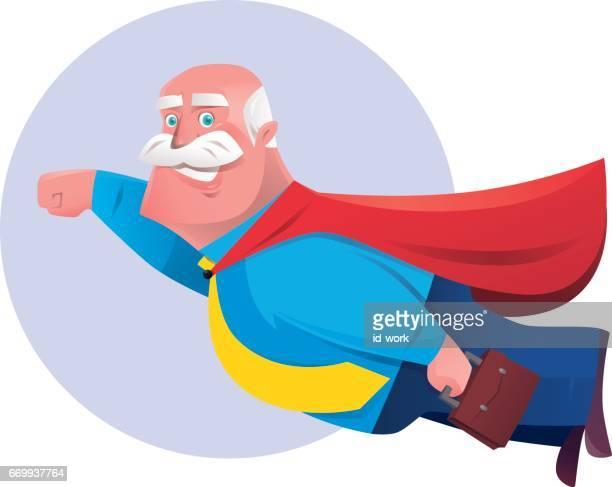 senior super hero businessman flying
