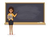 Senior teacher teaching student in classroom