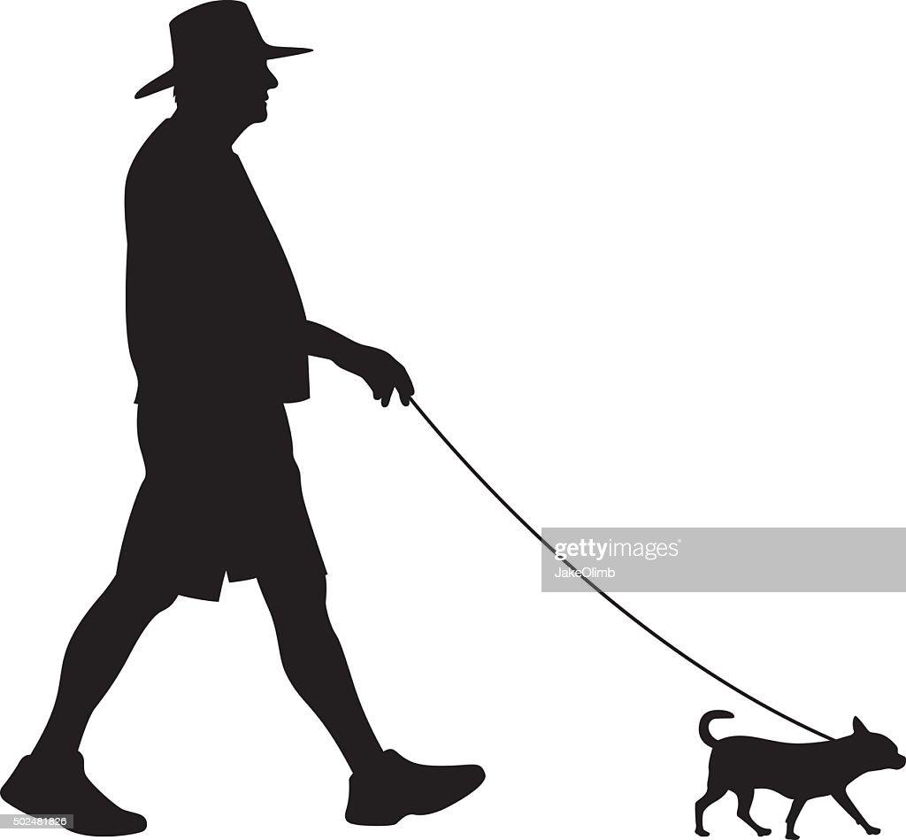 Senior Walking Small Dog Silhouette : stock illustration