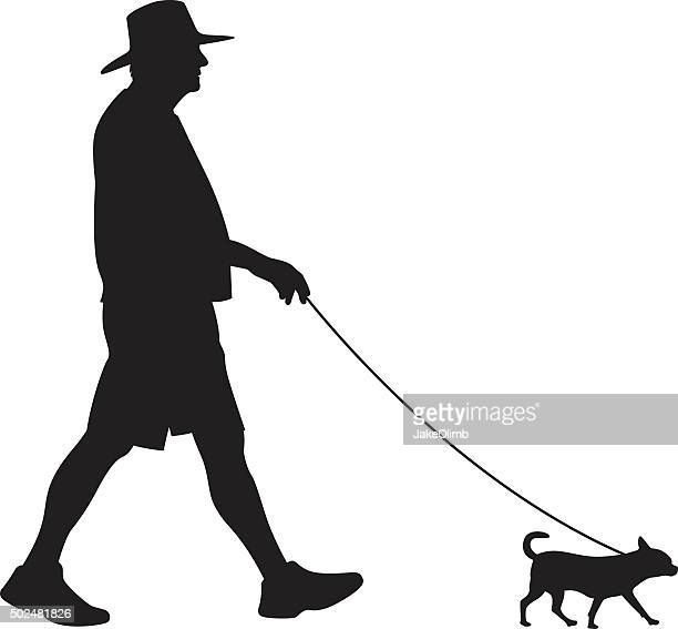 senior walking small dog silhouette - dog leash stock illustrations, clip art, cartoons, & icons