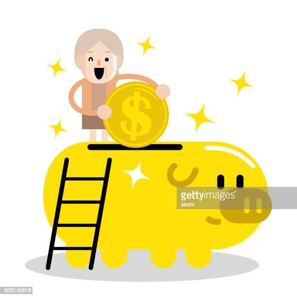 ilustraciones, imágenes clip art, dibujos animados e iconos de stock de plan senior de mujer y jubilación, anciana, poner una moneda de grande signo de dólar moneda en una alcancía - madre trabajadora