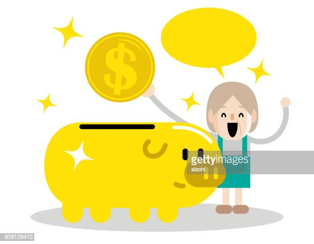 Senior (mid adult) woman and retirement plan, elderly working mother putting a large dollar sign coin currency into a piggy bank