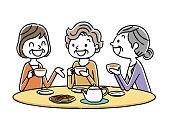 Senior woman: tea time, friends