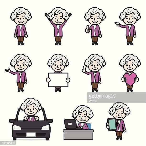 老人女性 - 年配の女性点のイラスト素材/クリップアート素材/マンガ素材/アイコン素材