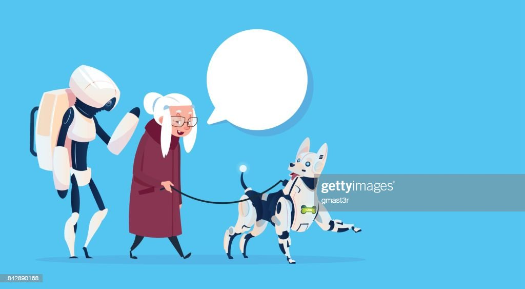 Senior Woman Walking With Robots Dog Chat Bubble Modern Grandmother Lady