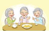 Senior women cheerful tea time