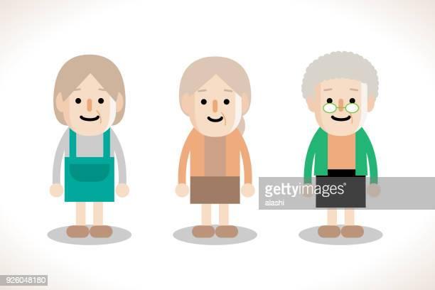 stockillustraties, clipart, cartoons en iconen met senior vrouwen, drie tekens ontwerpen - oudere volwassenen