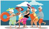 Seniors having fun on the beach