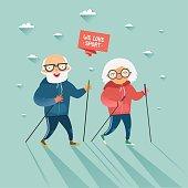 Seniors nordic walking. Old man and woman walking together