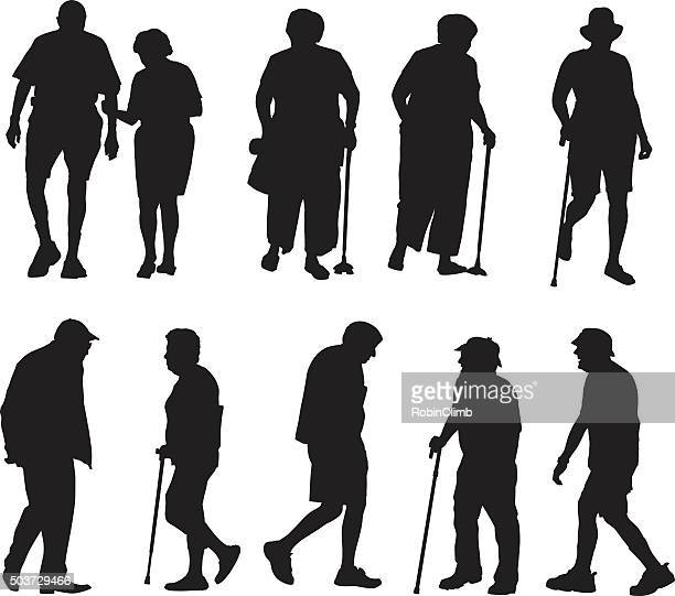 Seniors Walking Silhouettes