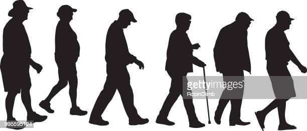 ilustrações, clipart, desenhos animados e ícones de idosos andando silhouetts - perfil vista lateral
