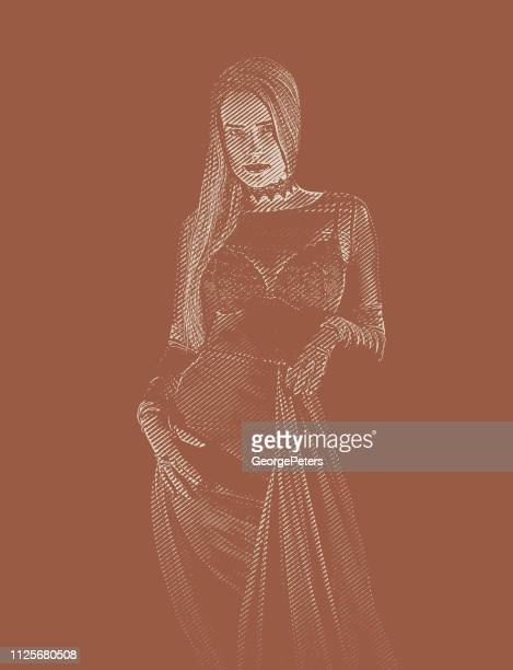 sensuous gothic style woman wearing lingerie - goth stock illustrations, clip art, cartoons, & icons