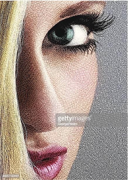 ilustrações de stock, clip art, desenhos animados e ícones de sensuous mulher plano aproximado - mulher fatal