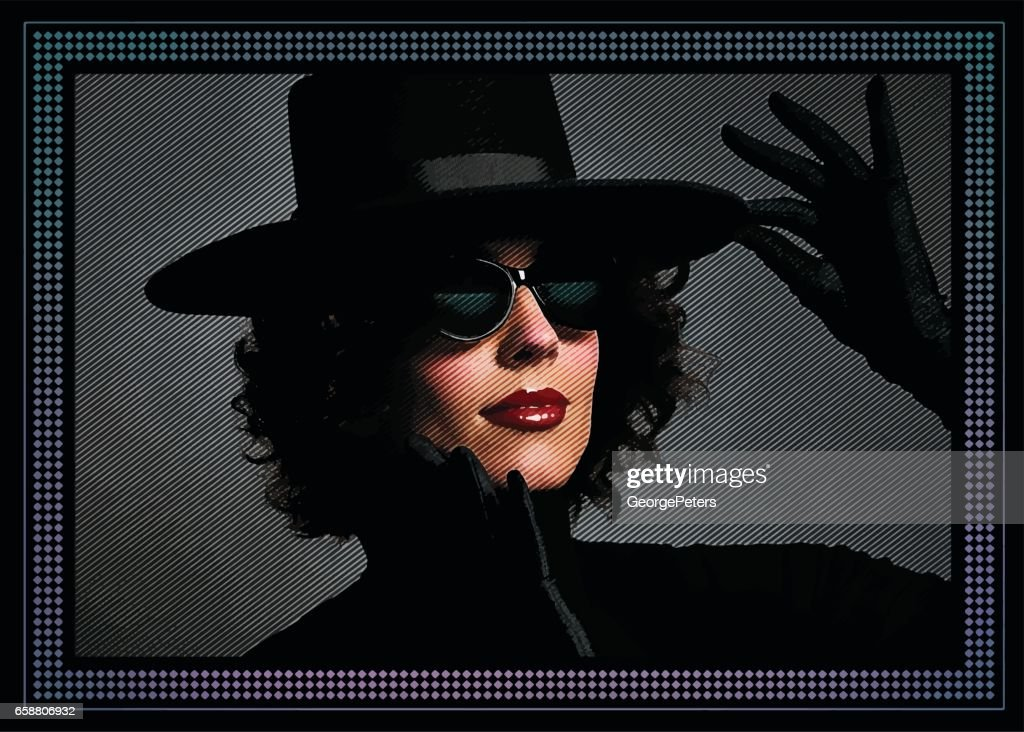 14e26afd1b72 Sensuous Woman With Black Hat And Satin Gloves stock illustration ...