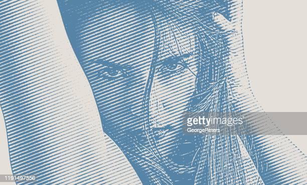 ilustrações de stock, clip art, desenhos animados e ícones de sensuous young woman flirting - mulher fatal
