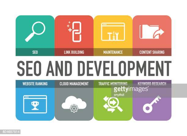 Seo and Development Colorful Icons Set