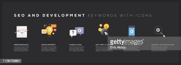 seo とアイコンを開発キーワード - 辞書点のイラスト素材/クリップアート素材/マンガ素材/アイコン素材