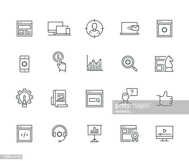 seo and development thin line series - performance stock illustrations, clip art, cartoons, & icons