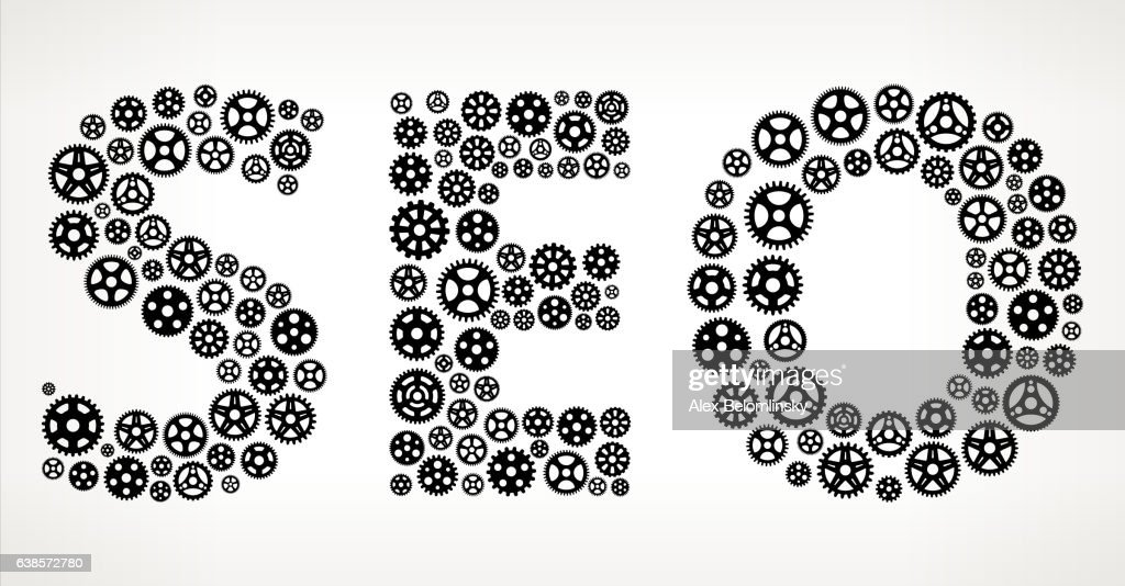 Seo Black Gears Vector Graphic Illustration : ストックイラストレーション