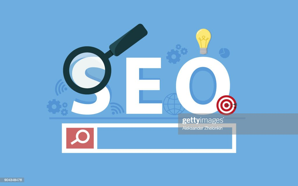 Seo concept. Targeting audience through advertising, branding, and digital media marketing. Flat vector concept with icons