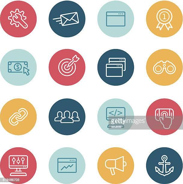 ilustraciones, imágenes clip art, dibujos animados e iconos de stock de iconos de seo - sistema operativo