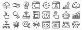 seo marketing line icons linear set